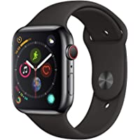 Apple Series 4 GPS & Cellular 44mm Space Black Stainless Steel Case Watch with Black Sport Band