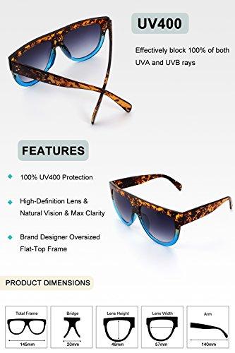 La Plaza mujer dimensiones Tortuga MOS9 de Gris tonos de Vintage enormes GQUEEN Azul sol Retro gafas d5fXwxdq