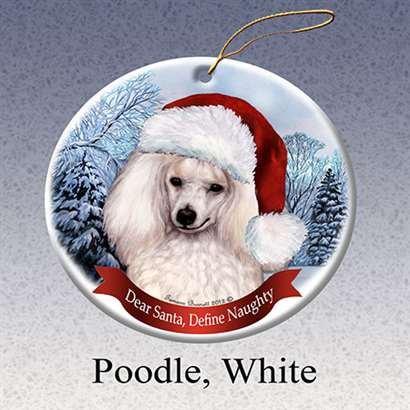 Holiday Pet Gifts Poodle White Santa Hat Dog Porcelain Christmas Tree Ornament