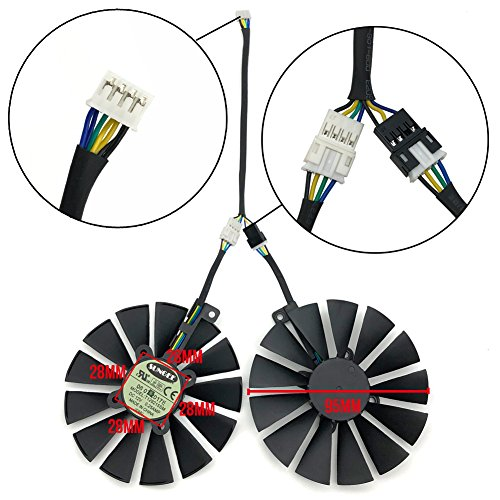 Z.N.Z T129215SM 95mm 12V 0.25AMP Graphics Card Cooling Fan For ASUS ROG STRIX GTX 1050 1050Ti RX470 RX570 RX580 POSEIDON GTX 1080Ti P11G GAMING CERBERUS-GTX 1070Ti Video Card fans, with Thermal Paste