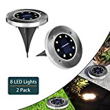 PLUSARGENT Solar Ground Lights,Garden Pathway Light 2 Pack Automatic Sensor Waterproof, Landscape 8 LED Lights for Lawn Pathway Yard Driveway Patio Walkway Pool Area(White)
