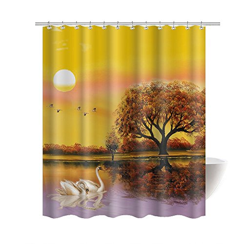 "Gwein Romantic Sunset Lake Tree Water Reflection Swan Beautiful Bathroom Mildew Resistant Fabric Shower Curtain Waterproof/Water-Repellent & Antibacterial Shower Room Decor Shower Curtains 66"" x 72"""