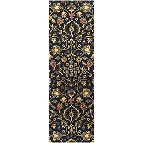 Diva At Home 2.5' x 8' English Botany Tar Black and Bay Leaf Green Hand Tufted Wool Area Throw Rug Runner ()