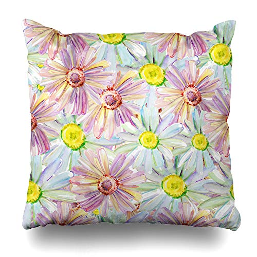Cover Garden Flower Pattern Daisies Watercolor Beach Abstract Romantic Painting Retro Summer Design Outline Decorative Pillowcase Square 16