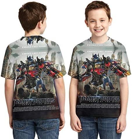 Yishuang Youth Trans-formers 3D Full Printed Short Sleeves, Round Neck T Shirt Fashion Tee Shirts for Boys Girls