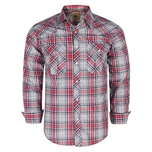 Coevals Club Men's Button Down Plaid Long Sleeve Work Casual Shirt (Red & Gray #22, - Slim Snap Western Pearl Shirt