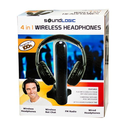 Sound Logic 4 in 1 Wireless Headphones with Super ...