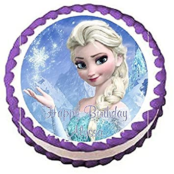 Amazoncom Frozen Elsa Edible Frosting Sheet Cake Topper 75