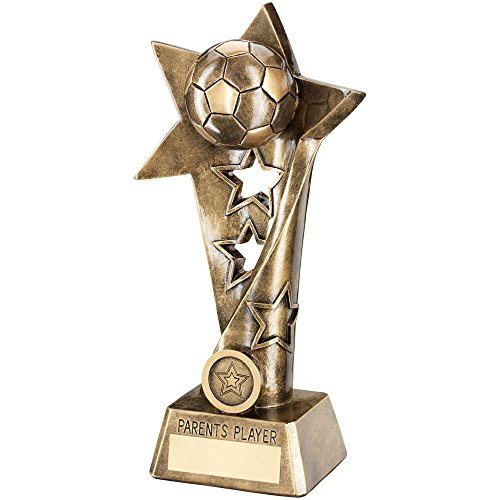 Star Column Trophy (Lapal Dimension BRZ/GOLD FOOTBALL TWISTED STAR COLUMN TROPHY - PARENTS PLAYER(1in CENTRE) 10.25i)