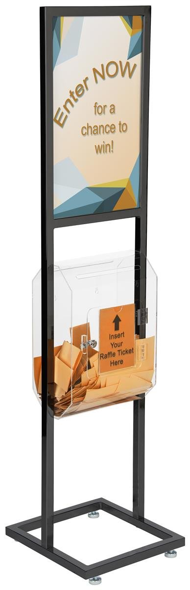 Displays2go Poster Stand with Ballot Box, Steel, Acrylic – Black Finish, Chrome Hardware (TWN1422BLT)