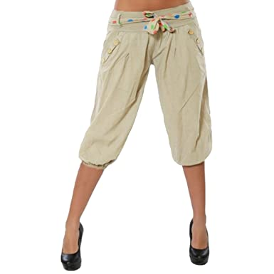 3452e934db Ketamyy Women Casual Button Decoration Loose Cropped Pants Low Waist with  Adjustable Drawstring Lantern Pants Palazzo