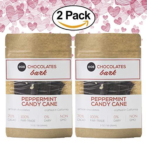 EOS CHOCOLATES Dark Chocolate Peppermint Bark Candy - Vegan Valentines, No Sugar Alcohols, Non-GMO Swiss Artisan Made in California, 70% Cacao, Candy Cane Keto Bark Bar Snacks (Peppermint, 2 Pack)
