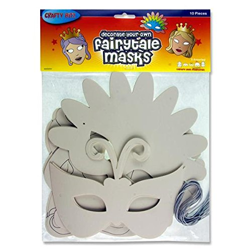 Plain White Adult/Child Decorate Your Own Party Masks 10 Pack - Fairytale -