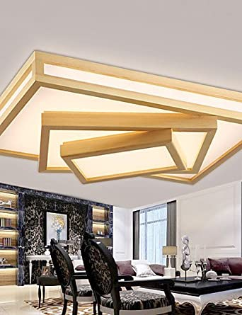skt-lamps y chino iluminación rectangular salón lámpara de techo luces de techo LED cálida atmósfera Madera Dormitorio Comedor nórdicos IKEA: Amazon.es: Iluminación