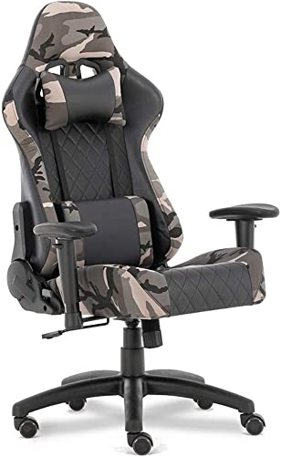 Military Style Chair Camouflage Gaming Chairs Office Chair High Back PU Leather Chair Ergonomic Chair Adjustable 3D Armrest Swivel Task Chair