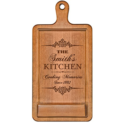 Personalized Cherry iPad Cook book Recipe holder with stand under counter for Kitchen with Family Name and Year Established date Cooking Memories Wedding Gift ideas for Him Her Couple by LifeSong Milestones