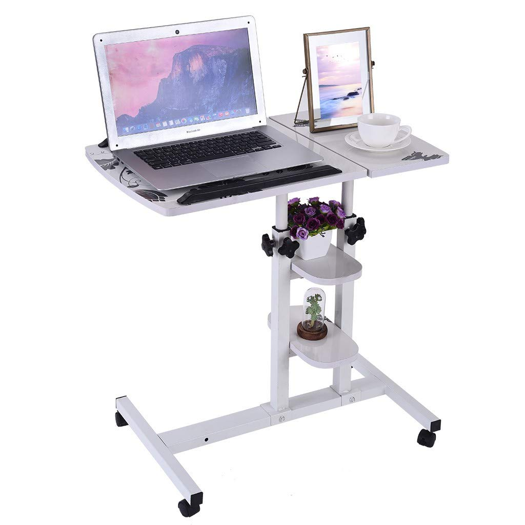 Transser Portable Laptop Rolling Cart Standing Table Height Adjustable Sofa Bedside Flipped Board Computer Stand Desk Coffee Table with Wheels, Shipping From NJ. or CA.