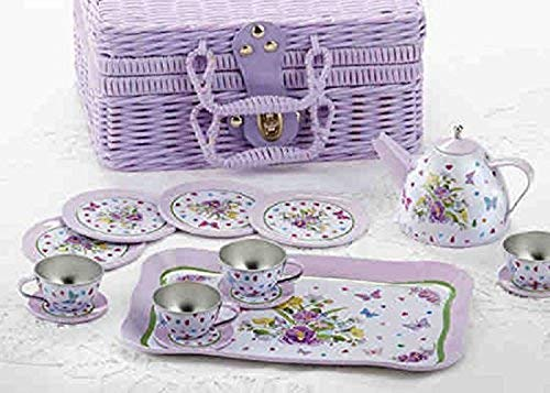 (Delton Children's Tin Tea Set in Basket, 15 Pcs, Pansy)