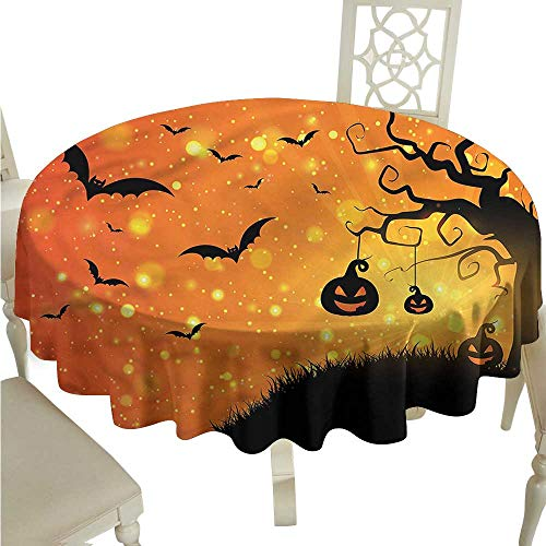 ScottDecor Printed Tablecloth Halloween,Fantasy Evil Night Icons Picnic Cloth Round Tablecloth D 54