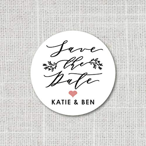 Save The Date Stickers, Garden Wedding Stickers for Favors, Wedding Envelope Seals, Custom Stickers for Save the Dates, Envelope Seals F9:11 ()
