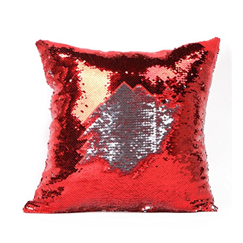 FENICAL Two Tone Glitter Sequins Throw Pillow Cases and Covers Color Changing Scale for Christmas Home Decoration (Red)