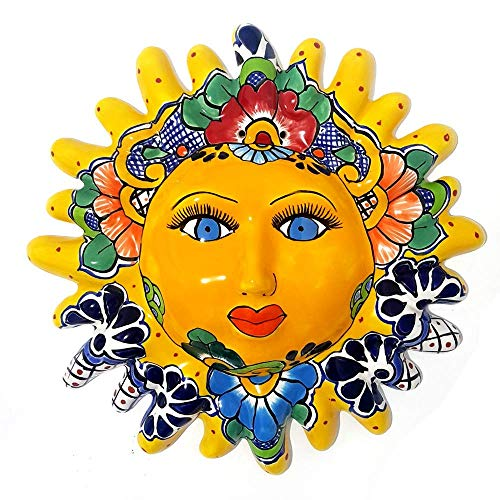 Sun Face of Mexican Talavera Ceramic Hand Painted - Decorative Wall Hanging - 12