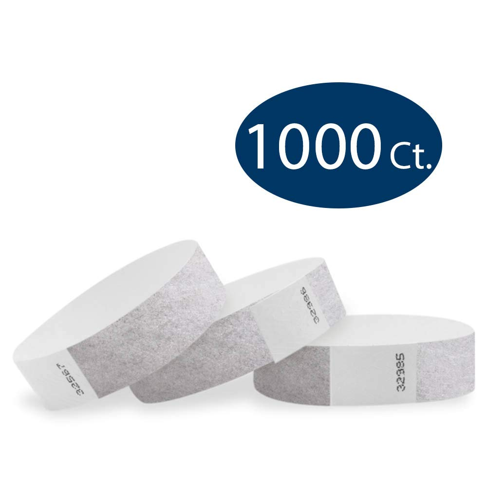 WristCo Metallic Silver 3/4'' Tyvek Wristbands - 1000 Pack Paper Wristbands for Events by Wristco