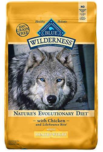 Blue Buffalo Wilderness High Protein Grain Free, Natural Adult Healthy Weight Dry Dog Food, Chicken 24-lb (Healthy Buffalo Blue)