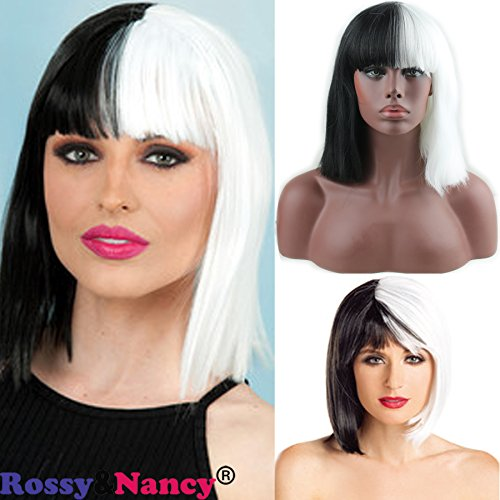 [Rossy&Nancy Halloween Women Short Bob Silk Straight with Bangs Synthetic Black and White Ladies Two Tone Color Cosplay Wigs for] (Toddler Cruella Deville Costumes)