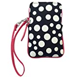 Top Zip Cellphone Pouch White on Black Dots