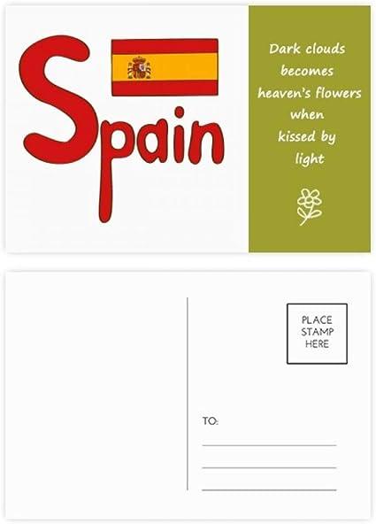 DIYthinker Patrón de España Bandera Roja Nacional de Poesía tarjetas postales establecido Gracias tarjeta de correo lateral 20Pcs 5,7 pulgadas x 3,8 pulgadas Multicolor: Amazon.es: Oficina y papelería