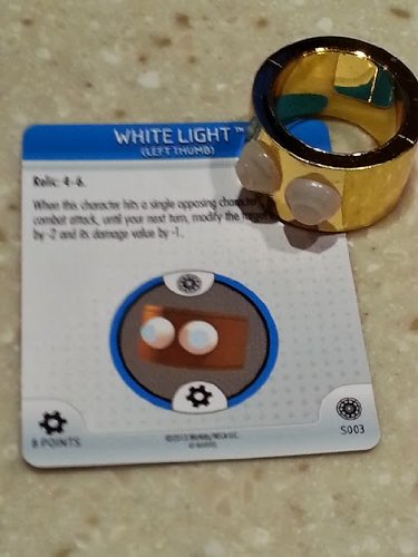 Marvel Heroclix Invincible Iron Man White Light RING 3D Object Relic