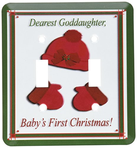3dRose lsp_26978_2 Red Cap And Mittens Babys First Christmas Goddaughter Poinsettia Bow Toggle Switch Multicolor