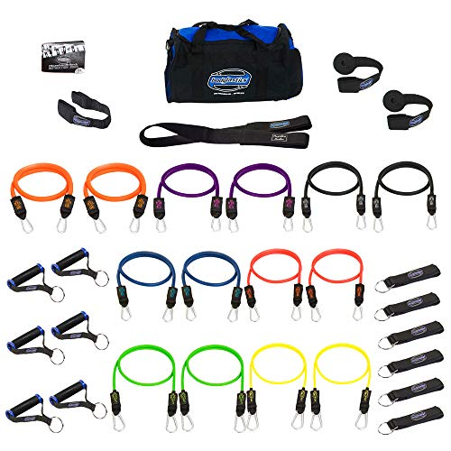 (Bodylastics Stackable 12pcs, 14pcs, 19pcs and 31pcs MAX Tension Resistance Bands Sets Include 5, 6, 7 or 14 of Our Anti-Snap Exercise Bands. (31 Pcs - 404 lbs, One Bag) )