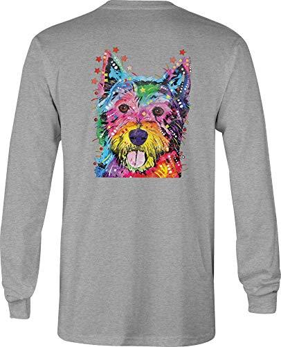 (Hoody Long Sleeve T Shirt Men Westie Terrier Graphic Tee - Med Gray)