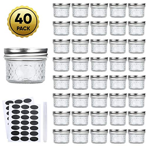 Mason Jar Ounces (Accguan Mini Mason Jars Glass Canning Jars,4 OZ Jelly Jars With Regular Lids(Silver),Ideal for Honey,Jam,Wedding Favors,Shower Favors,Baby Foods,Small Pice Jars 40)