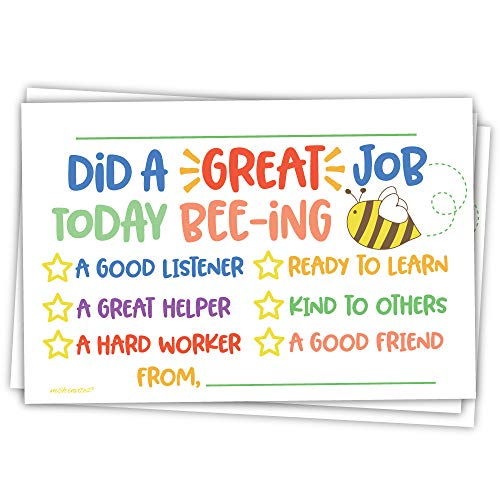 Cute Bee Classroom Incentive Cards to Send Home - Teacher Notes to Parents - Motivational Good Behavior Cards [Package of -