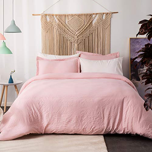 Bedsure Washed Duvet Cover Queen Set with Zipper Closure Solid Pink/Peach Full/Queen Size(90x90 inches)-3 Pieces (1 Duvet Cover + 2 Pillow Shams) Ultra Soft Hypoallergenic Microfiber