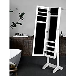White Finish Jewelry Armoire Cabinet Freestanding Floor Mirror Stand Makeup Organizer - Rings, Necklaces, Bracelets