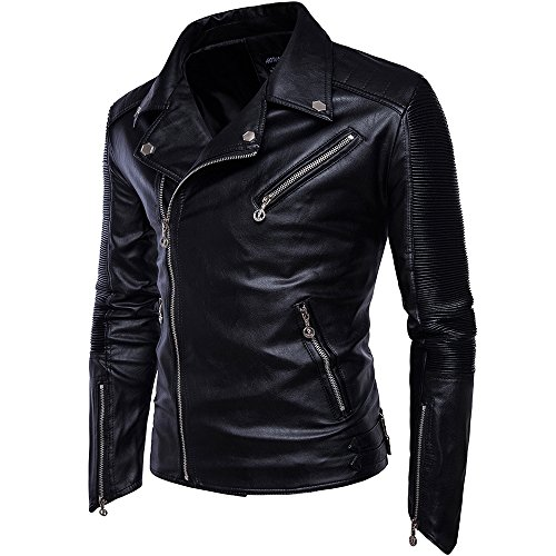 Men's Winter Fashion Biker Style Faux Leather Jackets Black US Size (Genuine Leather Racing Jacket)
