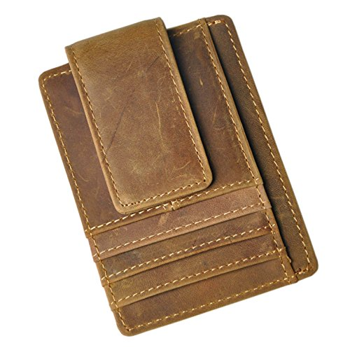 Price comparison product image Le'aokuu Genuine Leather Magnet Money Clip Credit Card Case Holder Slim Handy Wallet