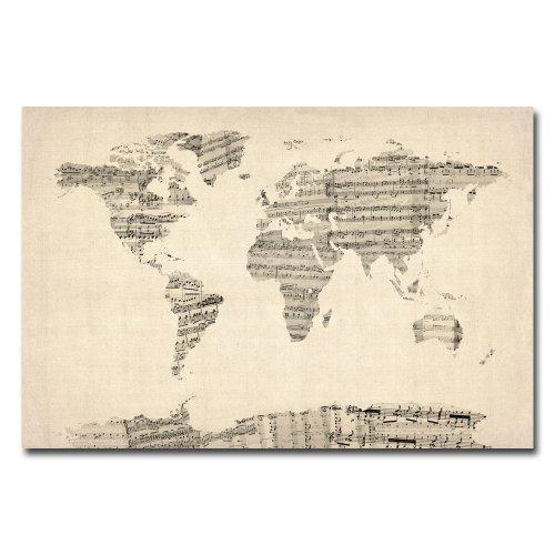 Old Sheet Music World Map by Michael Tompsett, 22x32-Inch Canvas Wall Art (Music Sheet Poster)