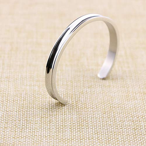 Yiyang Motivational Cuff Bracelets for Women Wake Up Kick Ass Repeat Stainless Steel Feminist Jewelry Gift for Her (Inner Graved) by Yiyang (Image #4)