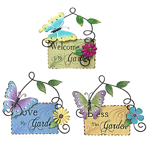 - Attraction Design Metal Garden Welcome Sign with Butterfly Decor Set of 3, Outdoor Hanging Welcome Sign for Garden Decoration Yard Decor (3-Pack)