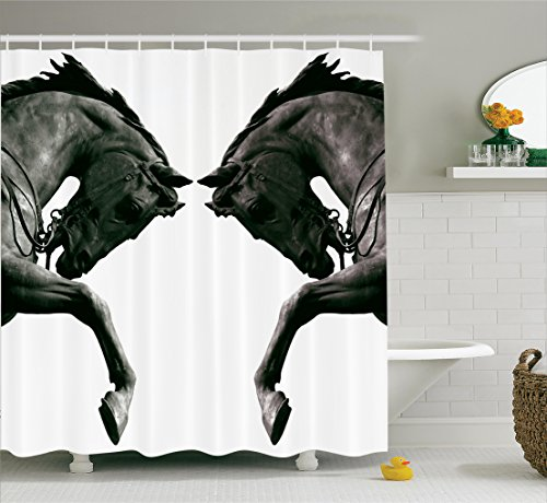 Ambesonne Sculptures Shower Curtain, Twin Contrast Horse Heads Statue Image Vintage Style Abstract Art Antique Theme, Fabric Bathroom Decor Set with Hooks, 84 inches Extra Long, Bronze