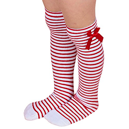 Shuohu Children Long Knee Socks Kids Toddler Bowknot Striped Leg Warmers - Red + White (Red And White Striped Leg Warmers)