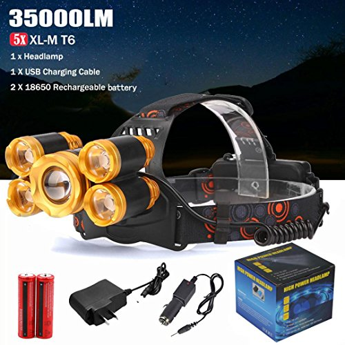 Waterproof 35000LM 5x XM-L T6 LED Rechargeable 18650 USB Headlamp Head Light Zoomable +AC Charger+Car Charger +2 Pcs Batteries for Camping Biking Hunting Fishing Outdoor Sports (Include battery)