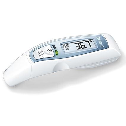 Sanitas Termómetro Médico Multifuncional 6-en-1 Blanco Oído Frente Pantalla LCD