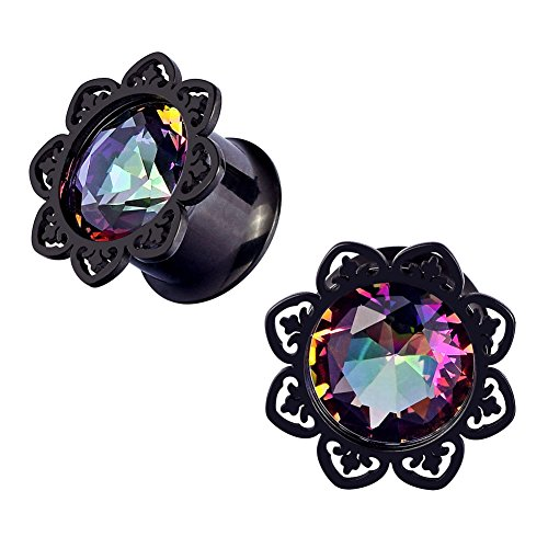 "Qmcandy 2pcs 0g-1"" Stainless Steel Lotus Edge Crystal Ear Gauges Piercing 1/2"""