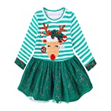sunnymi Xmas Newborn Infant Toddler Kids Baby Girls Santa Claus Deer Striped Princess Dress Christmas Outfits Clothes (3 Years Old, Green)